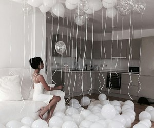 white, balloons, and party image