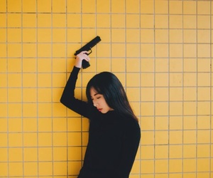 yellow, gun, and aesthetic image