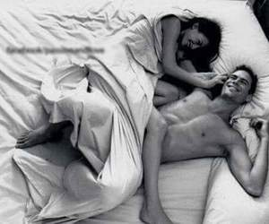 bed, smiles, and couple image