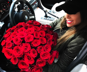 bmw, flowers, and girl image