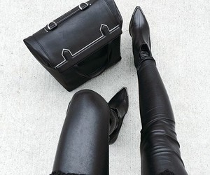 black, leather, and fashion image