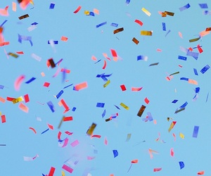 blue, confetti, and wallpaper image