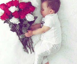 baby, flowers, and red image