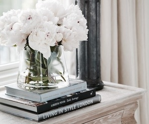 flowers, book, and interior image
