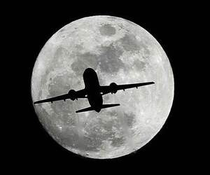 moon, airplane, and travel image