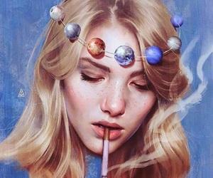 art, planets, and smoke image