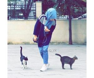 hijab, cat, and محجبات image
