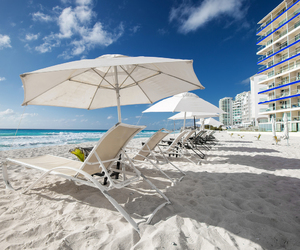 beach, sky, and cancun image