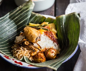 anchovy, fried chicken, and noodles image