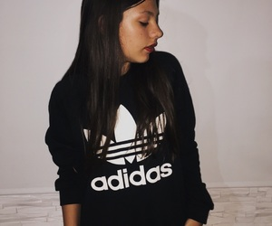 adidas, brown hair, and cold days image