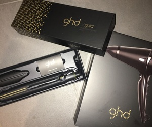 gold, hairdryer, and ghd image