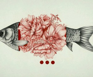 art, fish, and flowers image