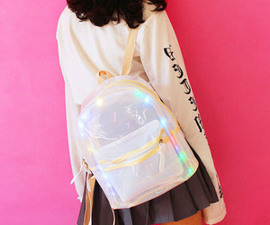 backpack, clear, and led image