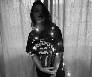 black and white, girl, and lights image