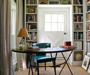 bookcases, built-ins, and desk image