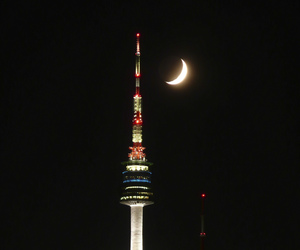 night, south korea, and seoul tower image