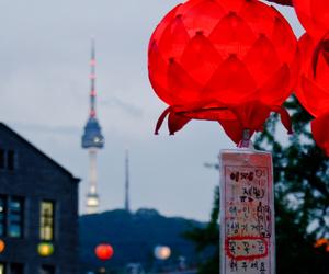 city, korea, and light image