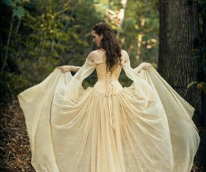 feminine beauty, dress gown, and medieval fantasy image