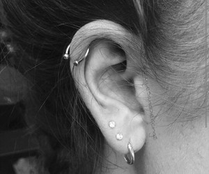 ear, silver, and percing image