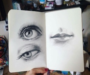 drawing, eyes, and sketch image
