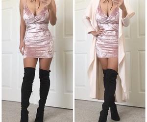 black, dress, and light pink image