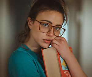 girl, book, and glasses image