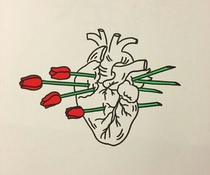 heart, rose, and art image