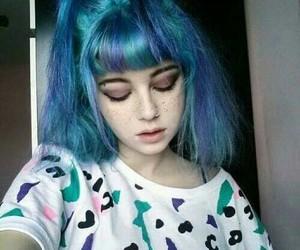 blue, makeup, and wallpaper image
