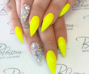 nails, beauty, and yellow image