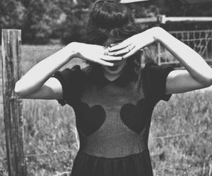 girl, heart, and black and white image