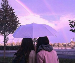 rainbow, girl, and friends image