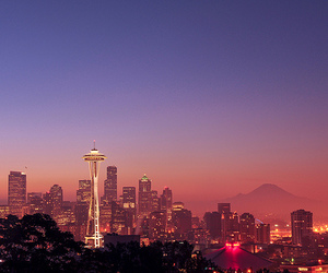 seattle, city, and sunset image