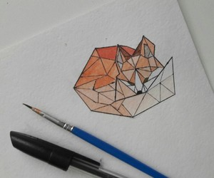 draw, fox, and watercolour image