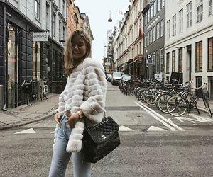 bag, coat, and denim image