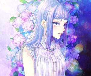 anime girl, blue flower, and art image