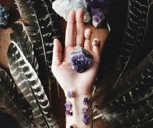 beautiful, crystal, and feathers image