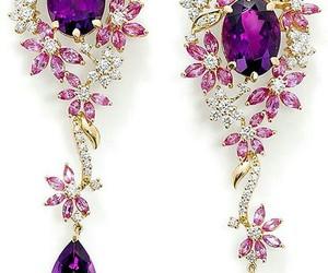 purple, earrings, and jewelry image