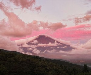 pink, mountains, and sky image