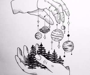 aesthetic, black and white, and planet image