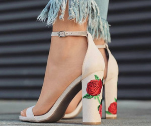 shoes, rose, and heels image