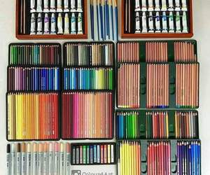 art, colors, and pencils image