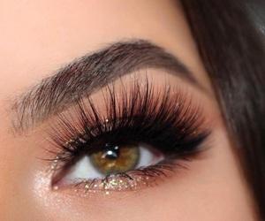 beauty, brown eyes, and eyelash image
