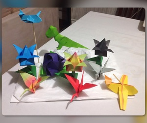 flores, origami, and dinosaurio image