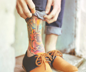 tattoo, boy, and shoes image
