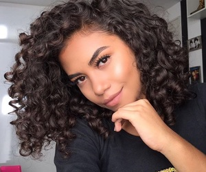 beautiful, curly hair, and eyebrows image