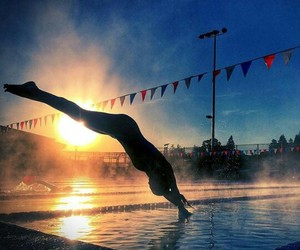 swim, azul, and pool image