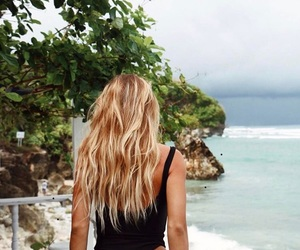beach, blonde, and girl image