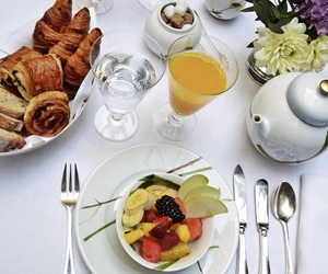 breakfast, croissant, and fresh fruits image