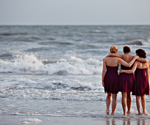 beach, bridesmaids, and girls image