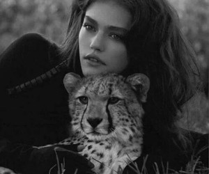 model, black and white, and cheetah image